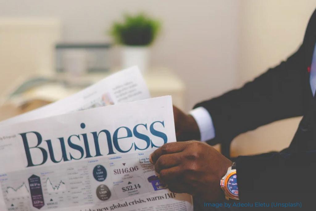 Businessman reading paper