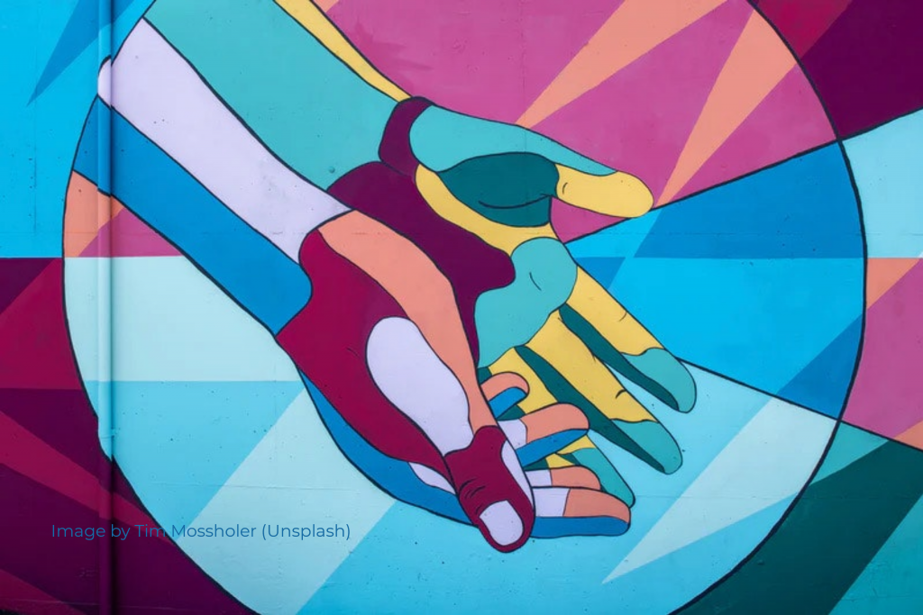 Colorful geometric shape hands